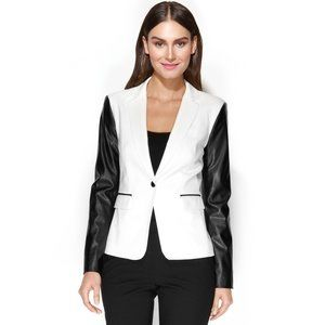 CALVIN KLEIN Cream Black Vegan Leather Blazer Sz 8